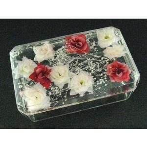 コットンボックス スモールローズアクリル バラが浮かぶアクリル製コットン入れ 小物入れ 薔薇雑貨 バラ雑貨 ばら雑貨 ローズ雑貨|recommendo