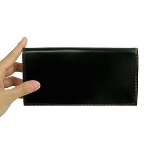 革の宝石コードバン 総マチ付き長財布 ブラック|recommendo