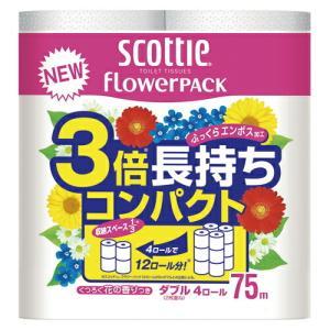 日本製紙クレシア スコッティフラワーパック 3倍長持ち 4ロール ダブル 1 パック 315041