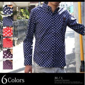 日本製 ブロード 水玉 ボタンダウン シャツ 水玉シャツ メンズ きれいめ 長袖 ドット トラッド プレッピー メンズ カジュアル|recommendo