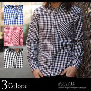 日本製 ギンガムチェック ワイドカラー ボタンダウン シャツ ギンガムチェックシャツ キレイめ メンズ 長袖 ドレスシャツ アメカジ|recommendo