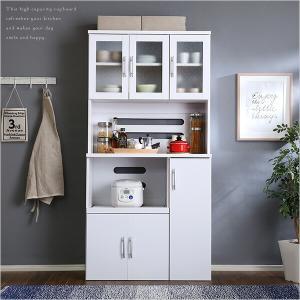 ホワイト食器棚【パスタキッチンボード】(幅90cm×高さ180cmタイプ)(代引き不可)