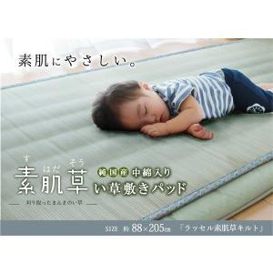 純国産 やわらかい草の敷きパッド 『ラッセル 素肌草キルト』 約88×205cm (中綿入り)|recommendo