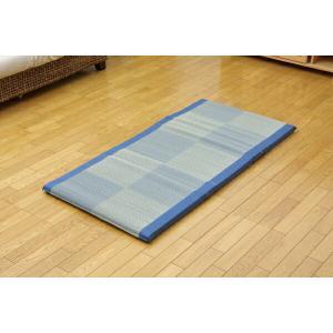 い草ごろ寝マット 『ノア 私の場所マット』 ブルー 70×150cm (中材:固わた40mm)|recommendo