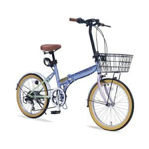 マイパラス MYPALLAS 折りたたみ自転車 20インチ M-252 5色 6段ギア カゴ付 代引不可|recommendo