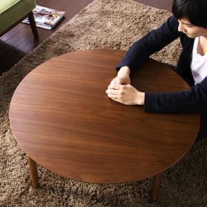 ウォルナット突き板折りたたみローテーブル Wal-Climiar ウォル・クリミア 円形 幅80cmタイプ|recommendo