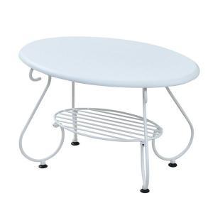 ヨーロッパ風 ロートアイアン 家具 楕円 センターテーブル 幅65cm ソファテーブル ローテーブル...