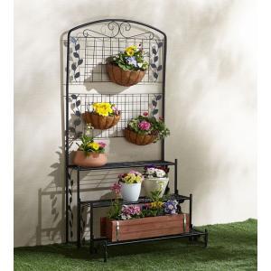 フェンス付フラワースタンド3段 1台 おしゃれ 花飾り フラワースタンド フラワーラック プランターラック 代引不可|recommendo