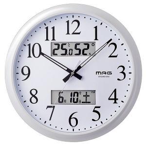 ノア精密 ダブルリンク MAG 電波掛け時計 W-711 WH 温湿度計付き 電波時計