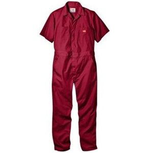 DICKIES ディッキーズ 半袖カバーオール #33999 SHORT SLEEVE COVERALL ディッキーズ レッド|recommendo