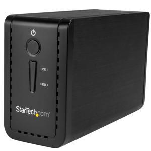 StarTech 2x 3.5インチSATA SSD/HDDドライブ外付けRAIDケース USB 3...