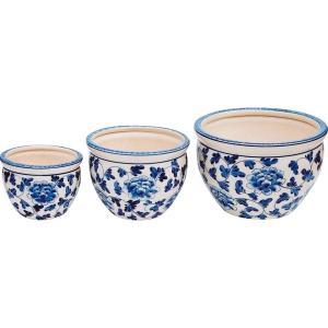 陶器植木鉢3点セット 白 青 花柄 室内装飾品 プランタ- 洋陶プランタ- CV34/3KB4 代引不可 recommendo