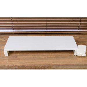 モニタースタンド/モニター台 〔幅58cm〕 収納スペース/コンセント/USB付き ホワイト(白)〔代引不可〕|リコメン堂