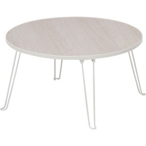 北欧風 ローテーブル/コーヒーテーブル 〔円形 ホワイトウォッシュ〕 直径60cm 折りたたみ 『丸...