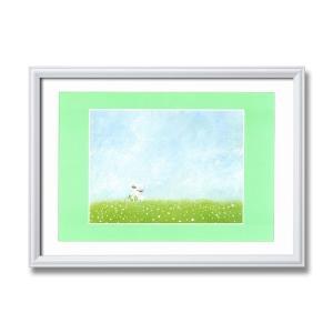 白いフレーム・優しい絵・風景画〔心温まる癒しの空間〕葉祥明アート額 「結婚式」