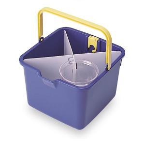 仕切付きバケツ/掃除用品 〔ブルー〕 バケツ容量:約9L 小物入:約600ml 〔業務用 施設 店舗...