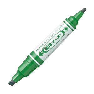 (まとめ) ゼブラ 水性マーカー紙用マッキー(太+細) 緑 WYT5-G 1本 〔×100セット〕