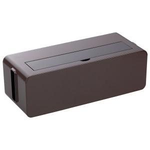 (まとめ) コンセント収納ボックス/ケーブルボックス 〔L ブラウン〕 幅39×奥行15.6×高さ1...