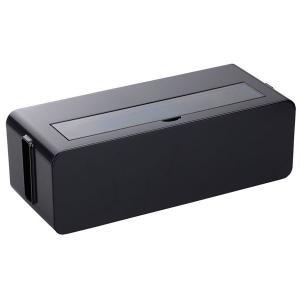 コンセント収納ボックス/ケーブルボックス 〔L ブラック〕 幅39×奥行15.6×高さ12.9cm ...