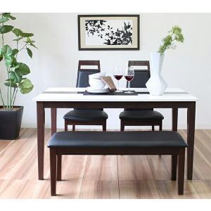 ダイニングテーブル 4点セット ダイニングセット 4点 ベンチ 北欧 鏡面 ミルキーウェイ 135cm幅/4人掛け用 木製 代引不可|recommendo