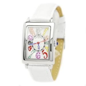 pierretalamon ピエールタラモン 腕時計 レディースウォッチ レクタンギュラー カラフルインデックス ジルコニアウォッチ セイコームーブ ホワイト PT-9500L-2|recommendo