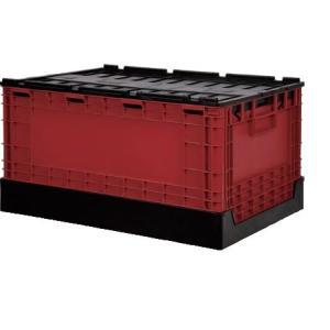 蓋つき 折りたたみコンテナ 58L 収納 livinbox 黒・赤 FB-6040L BR|recoshop