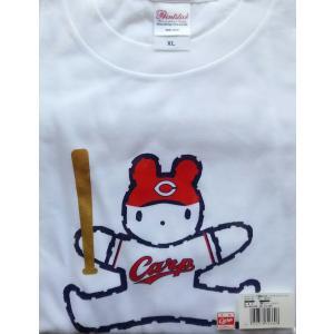 X 広島東洋カープ×そごう おかいものクマ 2017 リーグ優勝記念 コラボTシャツ 大人用 ホワイト|red-monkey