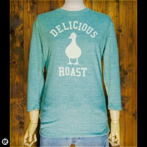 7分袖Tシャツ メンズ レディース 長袖 Tシャツ アヒルロゴ(HG) ヘザーグリーン|redbros