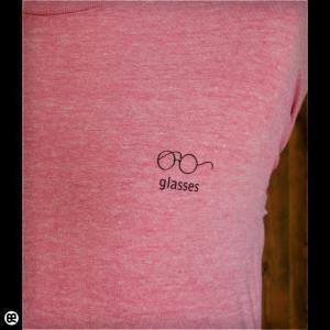 7分袖Tシャツ メンズ レディース 長袖 Tシャツ glasses ヘザーピンク|redbros