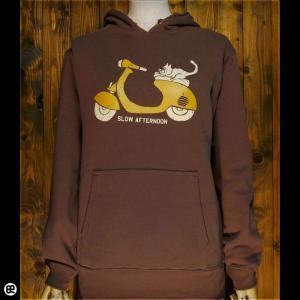 パーカー メンズ レディース プルオーバーPK 猫バイク ダークブラウン|redbros