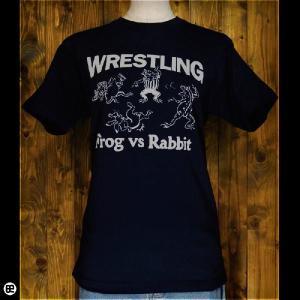 Tシャツ/メンズ/レディース/6.2oz半袖Tシャツ : レスリング : ネイビー|redbros
