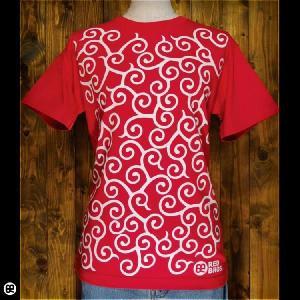 Tシャツ メンズ レディース 6.2oz半袖Tee カラクサ: クランベリー|redbros