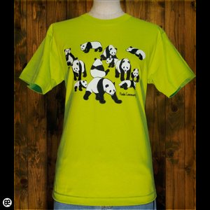 Tシャツ/メンズ/レディース/6.2oz半袖Tシャツ : パンダ軍団 : ネオングリーン|redbros