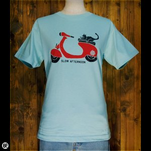 Tシャツ/メンズ/レディース/6.2oz半袖Tシャツ : 猫バイク : フロストスカイ redbros