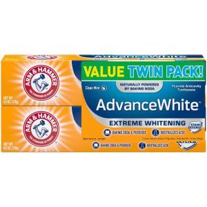 Arm & Hammer アーム&ハマー アドバンス ホワイト 歯磨き粉 2個パック Toothpaste with Baking Soda & Pe redheart
