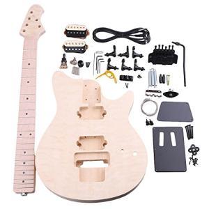 Yibuy バスウッド メープル MM1-F 6弦 エレクトリックギターDIYビルダーキット ボディピックガード ハムバッカーピックアップ チューニン|redheart