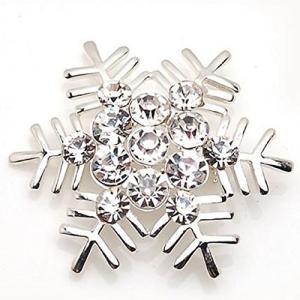 シンプルデザイン 美しい 輝き 雪の結晶 ブローチ クリスマス (シルバー)|redheart