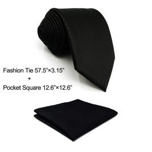 SHLAX&WING 無地 黒 シルク ネクタイ セット メンズ そして ポケットチーフ redheart