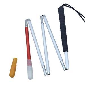 盲人用白杖 折りたたみ式五段 アルミ製, キャップ(2個) (黒いゴムグリップ, 110 cm) redheart