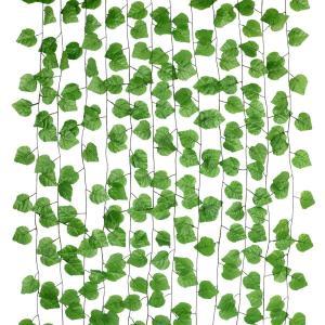 フェイクグリーン 造花グリーン 人工観葉植物 フェイクグリーン 12本入り 藤 緑 壁掛け 葉 インテリア飾り ホーム オフィス ベランダ ガーデン|redheart