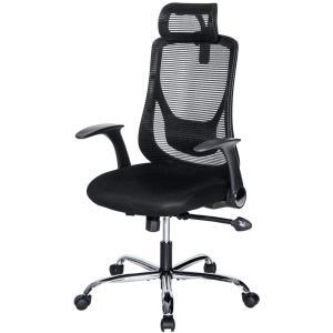 オーエスジェイ(OSJ)オフィスチェア パソコンチェア 145度 ロッキング固定機能 腰サポートクッション (ブラック)可動肘 静音PUキャスター H|redheart