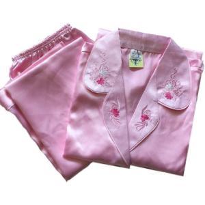 シルク で このお値段 レディース パジャマ 前開き 絹 花柄 刺繍 (L, ピンク) redheart