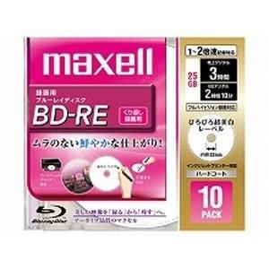 maxell 録画用 BD-RE 25GB 2倍速対応 プリンタブル ホワイト ひろびろ超美白レーベル 10枚入 BE25VFWPA.10S|redheart