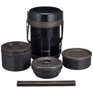象印 ( ZOJIRUSHI ) 保温弁当箱 ステンレスランチジャー ネイビーブラックお茶わん約3杯分 SL-GG18-BD|redheart
