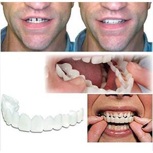 3枚のベニヤの歯、シミュレーションの義歯化粧の歯一時的なコンフォートフィットフレックスの化粧歯、1つのサイズは、ほとんどの化粧用シリコーン歯|redheart