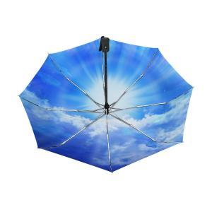 MASAI 折りたたみ傘 超軽量 晴雨兼用 uvカット 自動開閉 青空 雲柄 日傘 レディース グラ...