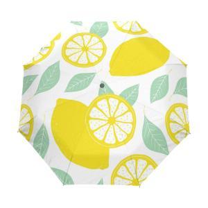 MASAI 折りたたみ傘 レモン柄 果物 軽量 自動開閉 梅雨対策 レディース グラスファイバー 耐...