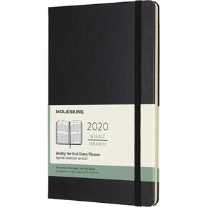 Moleskine 2020 Weekly Vertical Planner, 12M, Large, Black, Hard Cover (5 x|redheart