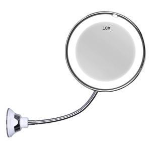 kamaa 10倍 ホース付きLED化粧鏡 風呂鏡 吸盤ロック付き 浴室鏡 化粧ミラー 360度回転 メイクミラー redheart