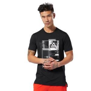 吸汗速乾性のあるリサイクルポリエステルを使用したグラフィックショートスリーブTシャツ。サイドスリット...